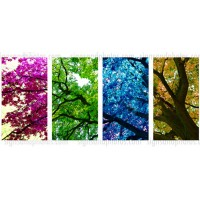 "Four Colored Tree 4 piece set  Acrylic  18.5""x45"".  4 panels"
