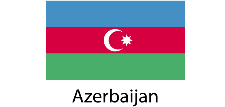 Azerbaijan Flag sticker die-cut decals