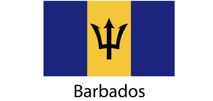 Barbados Flag sticker die-cut decals