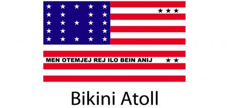 Bikini Atoll Flag sticker die-cut decals