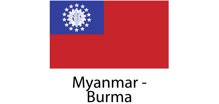Myanmar Burma Flag sticker die-cut decals