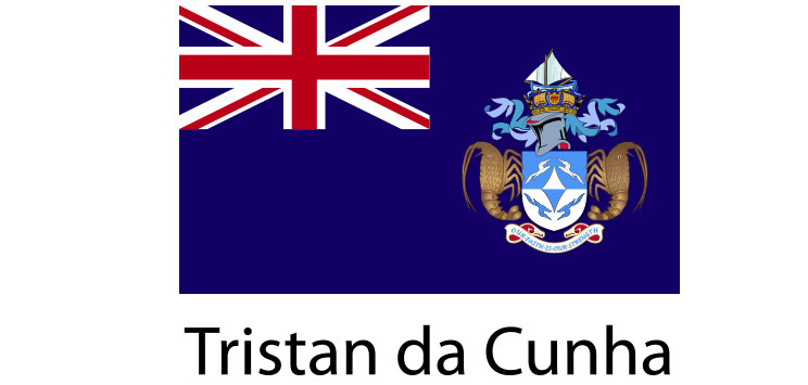 Tristan da Cunha Flag sticker die-cut decals