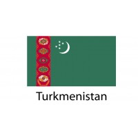 Turkmenistan Flag sticker die-cut decals