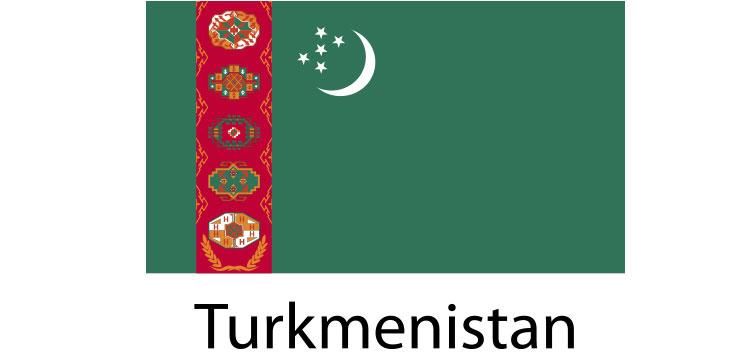 Turkmenistan Flag sticker die-cut decals
