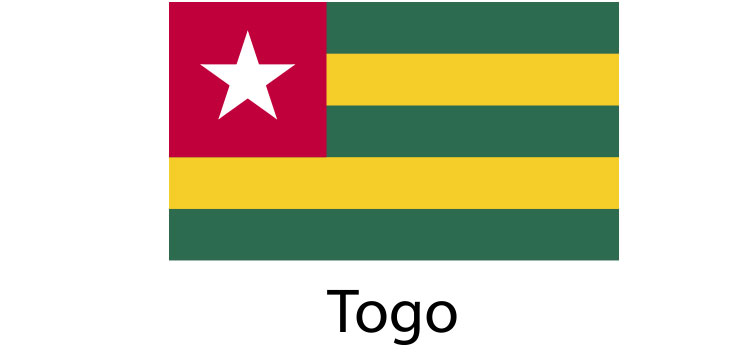 Togo Flag sticker die-cut decals