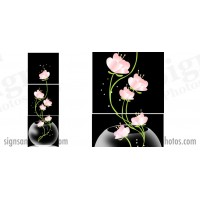 "Glass Pink Flowers 18""x18"".  3 panels"