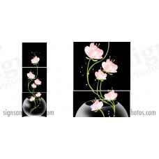 "Glass Pink Flowers 18""x18"".  3 panels"