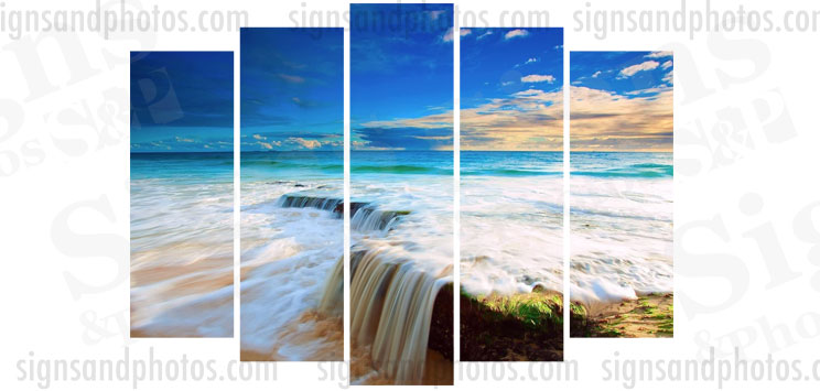 "Beach Acrylic  28.5""x42"".  5 panels"