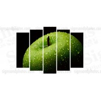 "Acrylic print green apple 28.5""x42"".  5 panels"