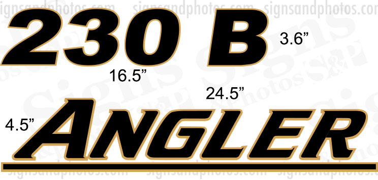 Angler 230 B  Boat Logo Decals  Gold and Black