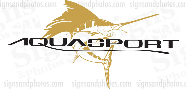 "Aquasport Boat Logo, Gold and Black Decals 36""x19"""