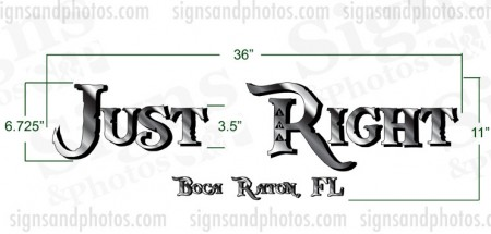 "Boat name ""Just Right"" Decal"