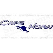 "Cape Horn Boat Logo  2 colors 36""x9"""
