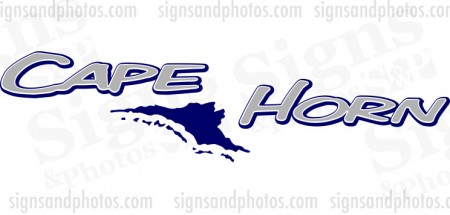 "Cape Horn Boat Logo  2 colors 36""x9"""