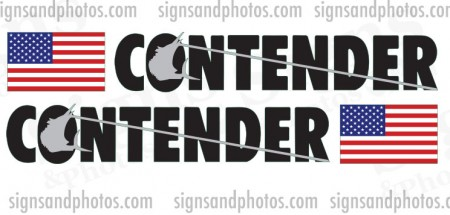 Contender Black and Silver Decal w/Flag