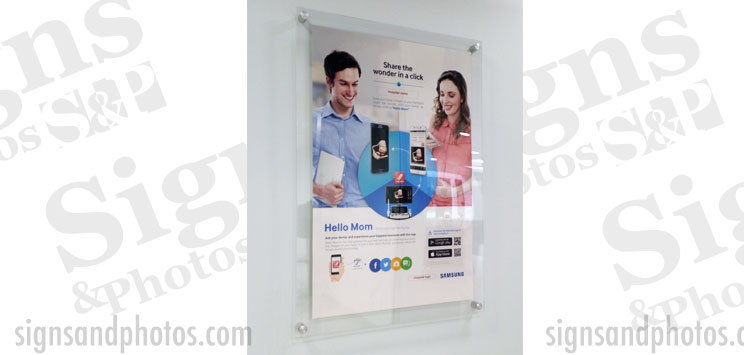 "Displays Graphic Acrylic Vertical/Horizontal Standoff Sign Holder 17""x22"""