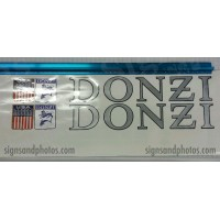 "DONZI Hulls side Logo Decal Set 6"" H Silver, Black  and Flags"