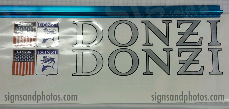 """DONZI Hulls side Logo Decal Set 6"""" H Silver, Black  and Flags"""