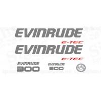 Evinrude 300 HP E-TEC DECAL SET 2009-2011 DARK GREY (WHITE ENGINES)