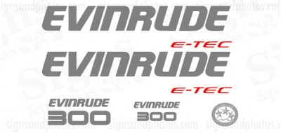 Evinrude 300 HP E-TEC DECAL SET 2009-2011 DARK GREY (WHITE ENGINES)