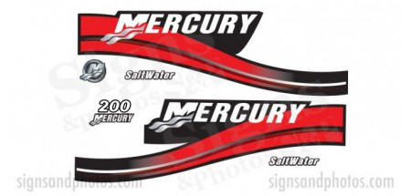 Mercury 200 Red Decal Kit