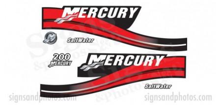 Mercury 200 Red Decal Kit