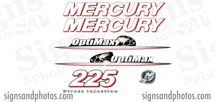 Mercury Optimax 225 Red and white  Decal Kit