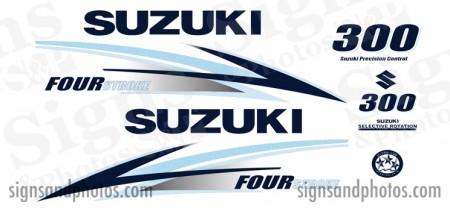 Suzuki 300HP Decal Kit ( ice blue and Dark Blue) 2010 +