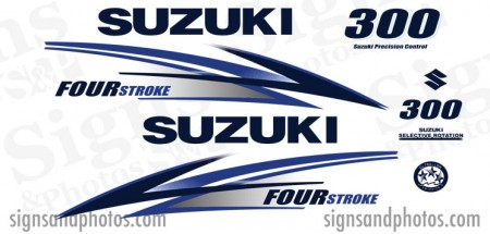 Suzuki 300HP Decal Kit ( Light blue and Dark Blue) 2010 +