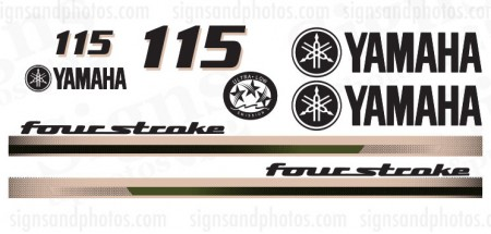 Yamaha 115HP for stroke Decal Kit Beige and Olive
