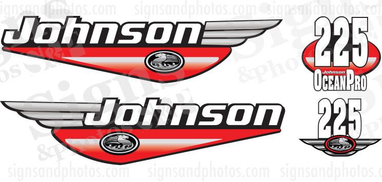 Johnson 225HP Ocean Pro 1992 2000 Red decals set kit.