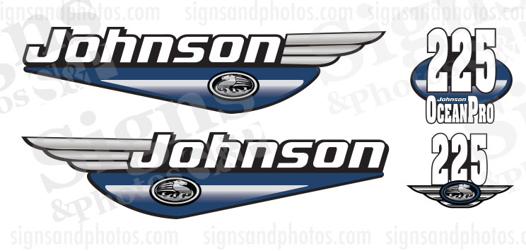 Johnson 225HP Ocean Pro 1992 2000 blue decals set kit.