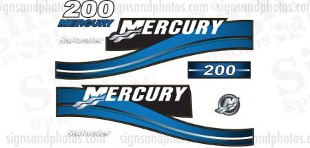 Mercury 200 Saltwater Blue Decal Kit