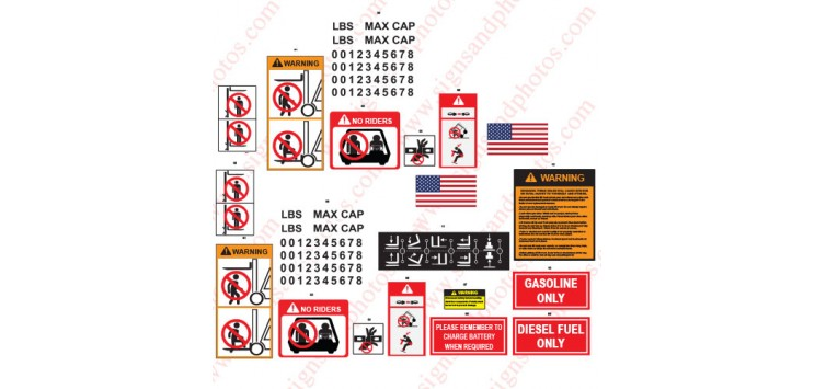 Forklift Safety Stickers-Decals  Kit
