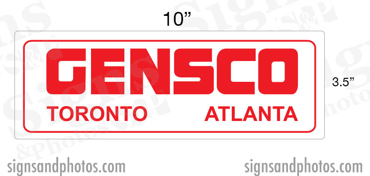 "GENSCO Decal (Toronto, Atlanta) 3.5"" x 10"""