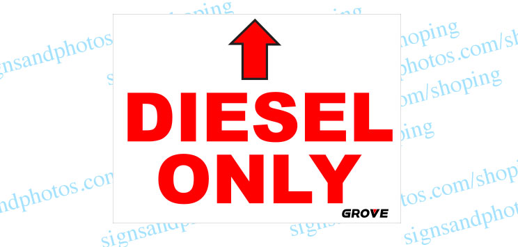"Grove Crane  Vinyl Decal Diesel Only 11""x8"""