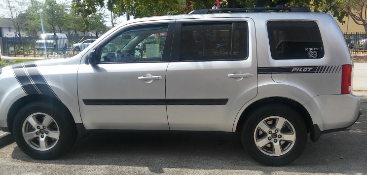 Honda Pilot Hash Mark and Stripes Matte Black