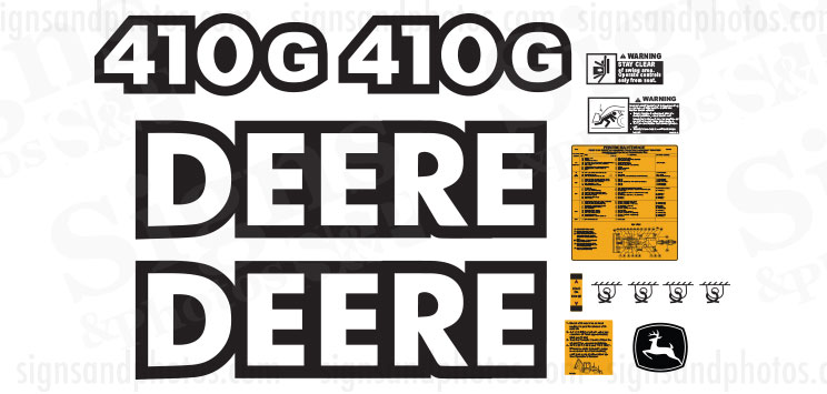 John Deere 410G Backhoes Decals Kit