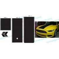 Mustang Rally Racing Stripes Matte Black