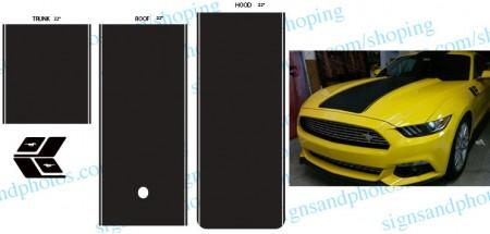 Mustang Rally Racing Stripes Matte Black
