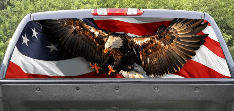Rear Window Graphic Patriotic. USA Flag and Bald Eagle