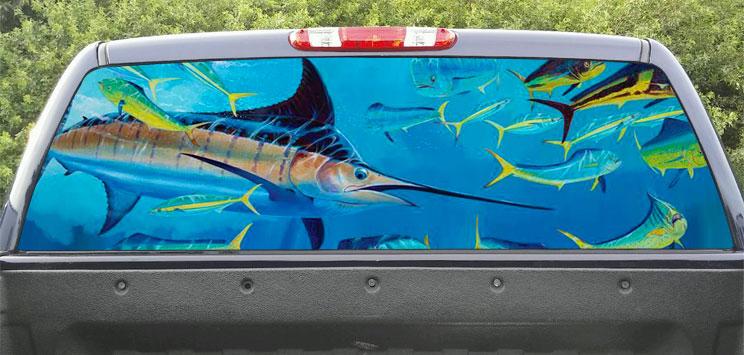 Rear Window Graphic Marlin Fishing