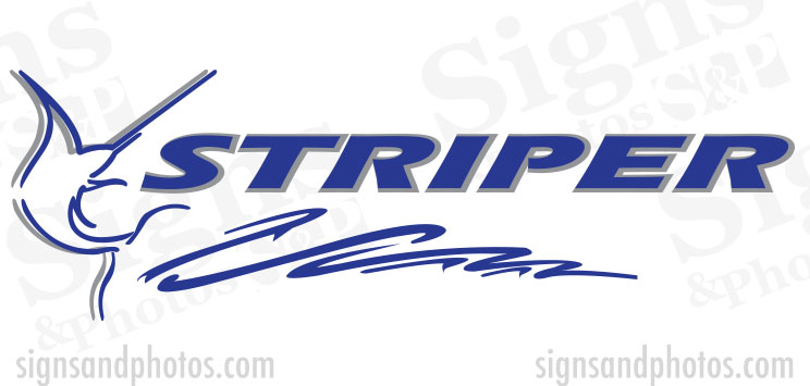 "Striper Boat Logo  2 colors 50""x15"""