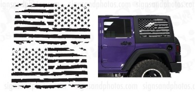 American Flag. Hard top Window USA Distressed Flag Decals Stickers to fit Jeep Wrangler 2007-2018