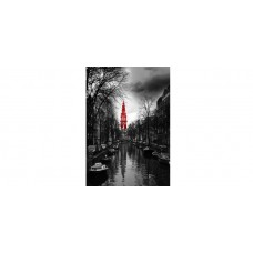 """Wall Glass Art Amsterdam black, white and red. 24""""x36"""""""