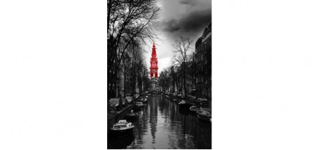 "Wall Glass Art Amsterdam black, white and red. 24""x36"""