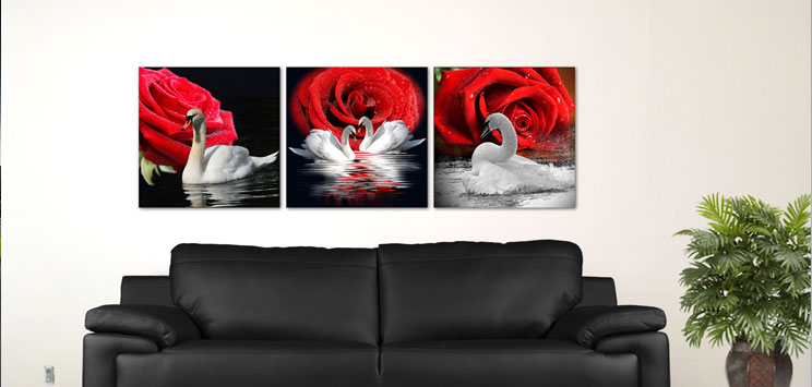 Wall Glass White Swan and red rose 18x18, 3 Panels