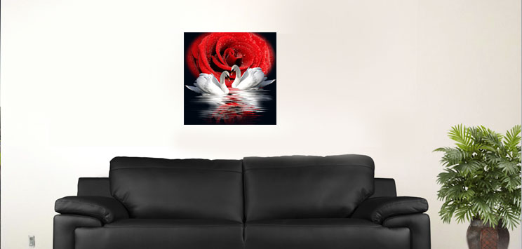 "White Swan and red rose 18""x18"""