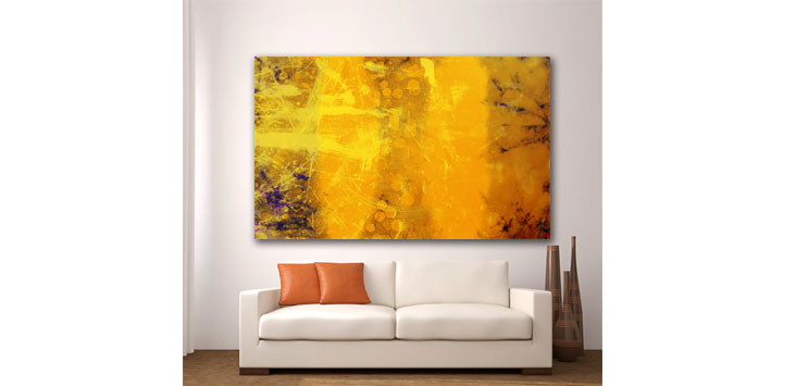 Wall Glass Art Abstract  Yellow