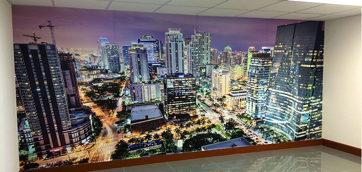 Wall Wraps 8' x 12' miami florida downtown nightt aerial